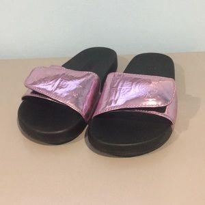 Victoria's Secret metallic pink slides